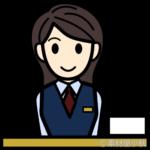 紺の制服の受付嬢のイラスト