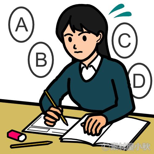 さくっと英語試験に取り組む女子高校生