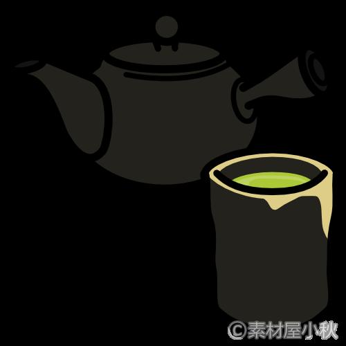 陶器の急須と湯のみのイラスト