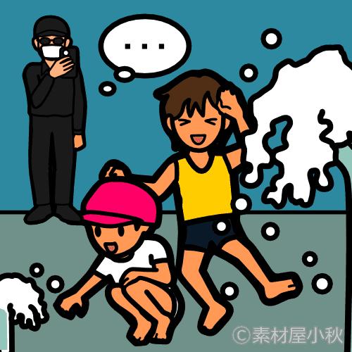 水遊びする児童を盗撮する変質者