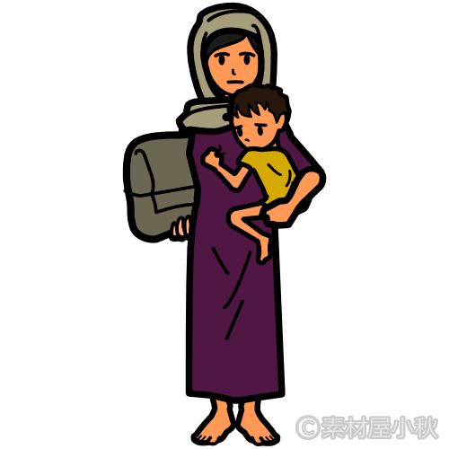 男児を抱えて途方に暮れる難民女性