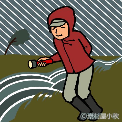 台風のなか用水路の見回りに行く男性